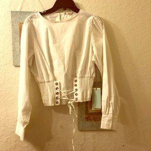 Iris Los Angeles white corset long sleeve top